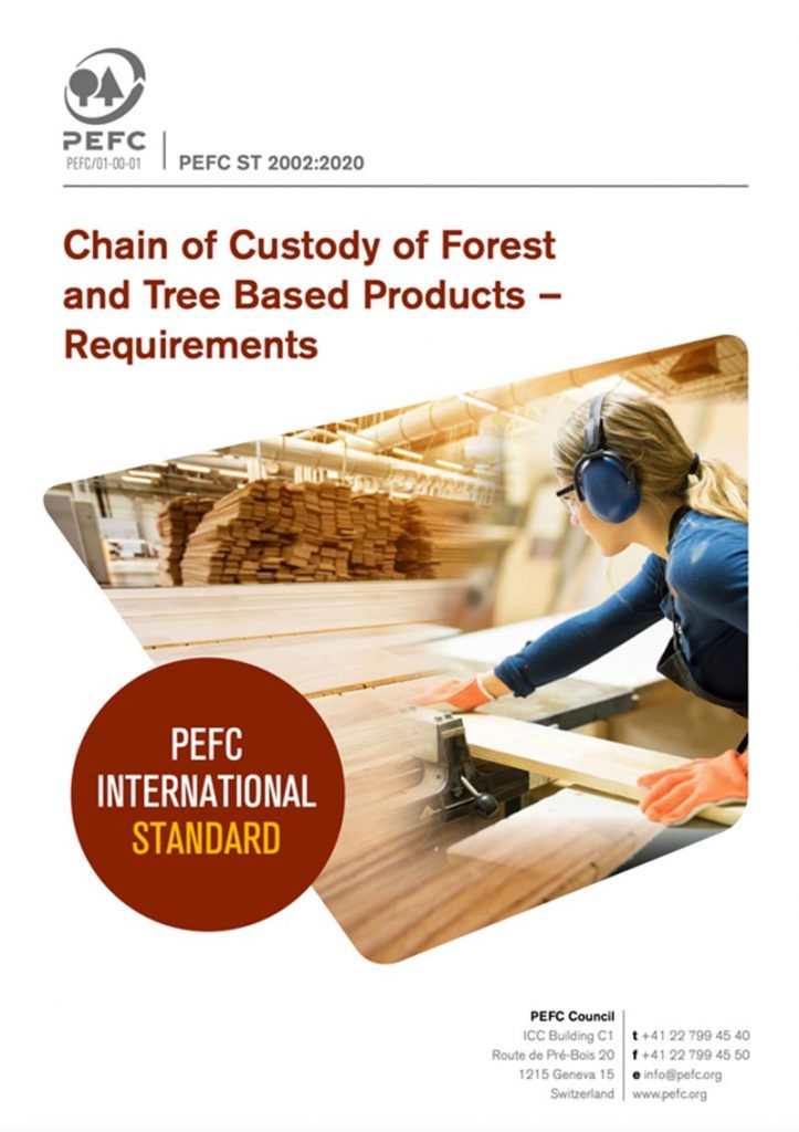 Chain of Custody of Forest Based Products - Requirements (PEFC ST 2002:2020)